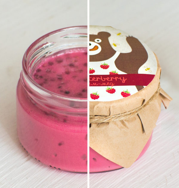 Крем-мед с малиной