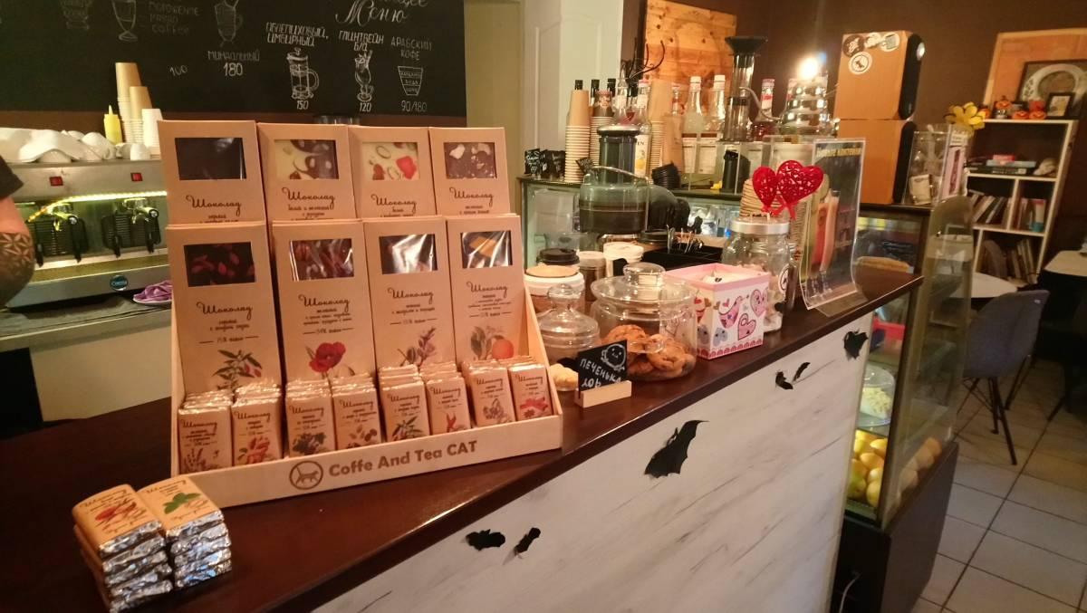 Шоубокс с крафтовым шоколадом Chocogallery в кофейне